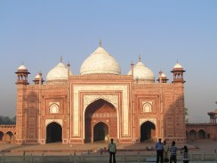 Two identical buildings on flanks of taj mahal...one is a mosque and the other a resting room . Built for symmetery of the whole complex