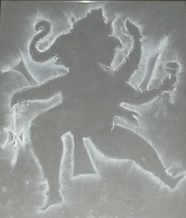 Lord Ganesha made with chalk on black paper