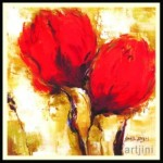 Artjini Red Flowers lll frame Art