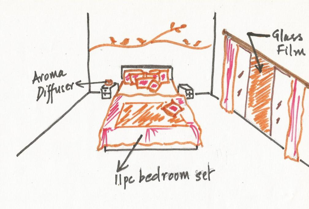 Sketch drawing of our bedroom