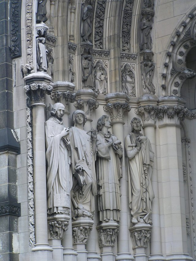 Exterior walls with saints